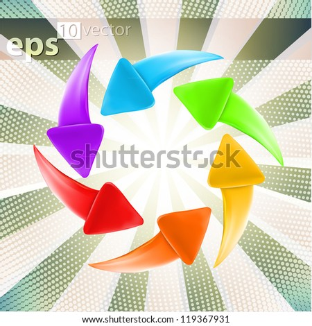 Colorful glossy arrows, set of six color versions, eps10 vector label icon emblems