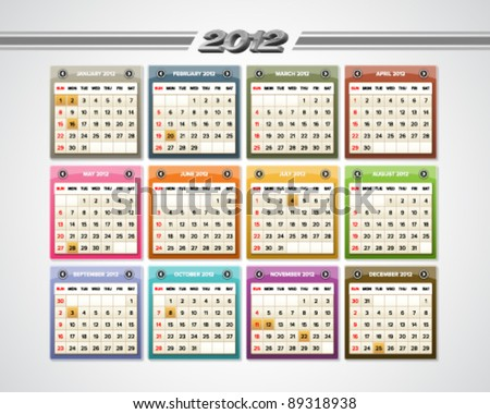 Colorful glossy calendar for 2012 with public holidays indications.