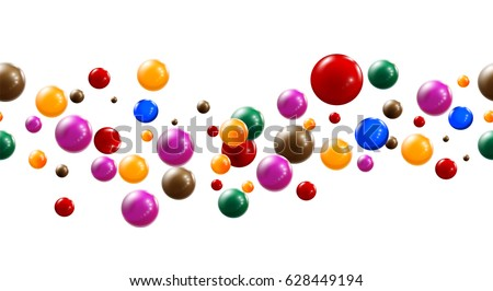 Colorful glossy candy balls on white background. Abstract Candies. Vector linear seamless illustration