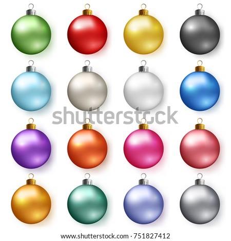 colorful glossy christmas balls
