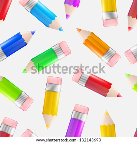 Colorful glossy pencil over white as seamless eps10 vector background pattern