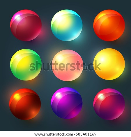 Colorful Glossy Spheres, Balls, Buttons Set. Shining Glass Objects. Funny Candy. Vector illustration