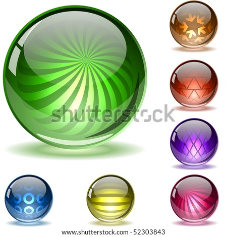 Colorful glossy spheres with different inner patterns isolated on white. Set 2.