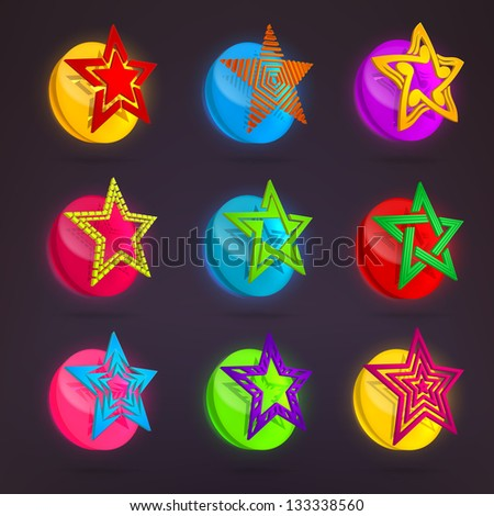 Colorful glossy star collection over glowing glass round buttons, eps10 vector