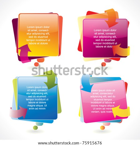 Colorful glossy vector speech bubble set with arrows