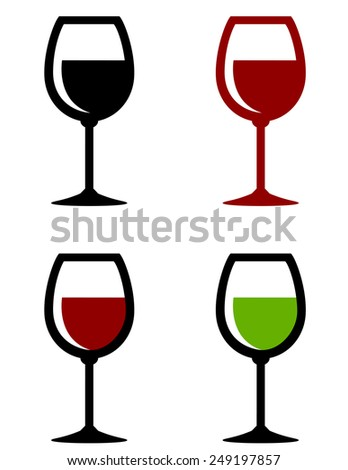 colorful glossy wine glasses