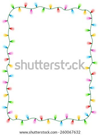 colorful glowing christmas lights border frame colorful holiday lights illustration 260067632 - Christmas Light Border