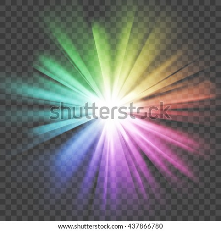 Colorful glowing light. Bright shining star. Bursting explosion. Transparent background. Rays of light. Glaring effect with transparency. Abstract glowing light background. Vector illustration.
