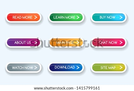 Colorful gradient buttons. Learn more and about, continue reading and navigation vector rectangular shopping action button icons