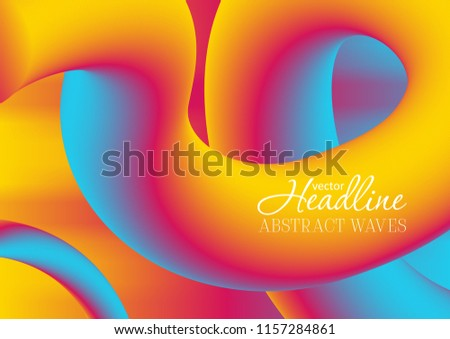Colorful gradient 3d wavy liquid shapes abstract background. Vibrant flowing curves vector design