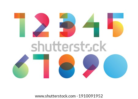Colorful gradient overlapping transparent shapes numerals from 1 to 0 Сток-фото ©