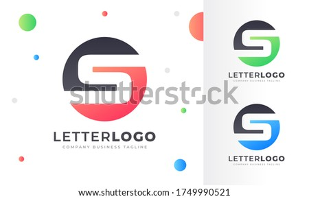 Colorful Gradient S Letter Logo Rounded Circle Logo Design Template for Property, restaurant, Health, shop, tech and all Kinds Company Business. Vector Template  Stock fotó ©