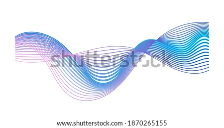Colorful gradient sound wave isolated on white background. Modern abstract shape expressing musical rhythm, frequency and impulse. Audio equalizer. Music visualization waveform. Vector illustration Foto stock ©