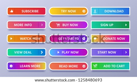 Colorful gradients buttons. Vivid web button with icon or arrow, sign in and subscribe icons. Ui action gradient download, donate and watch or start now isolated vector symbols set