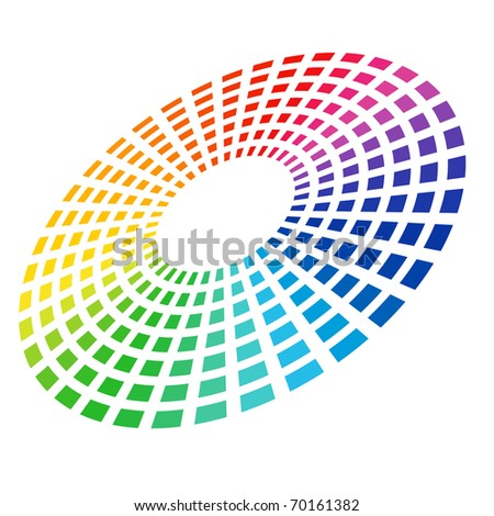 Colorful Graphic Equalizer. Circle in space. Vector illustration on white.