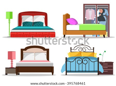 colorful graphic set of beds