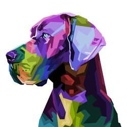 colorful great dane dog on pop art style. vector illustration.