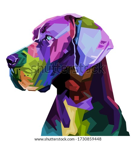colorful great dane dog on pop art style. vector illustration. Foto stock ©
