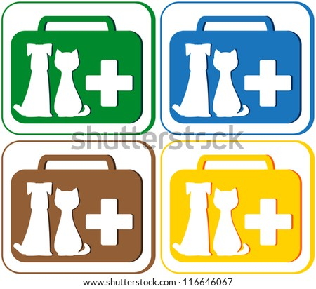 colorful green, blue, red and yellow set with veterinary symbol - portfolio and pet dog with cat - stock vector