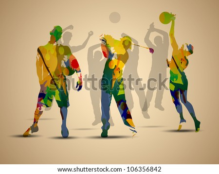 Colorful grungy illustration of football soccer player, basketball player  and golf player on  brown background.