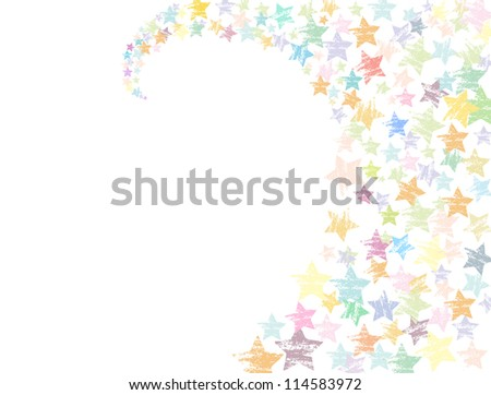 Colorful grungy swirling stars illustration on white background