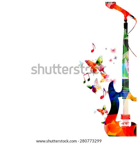 colorful guitar with microphone