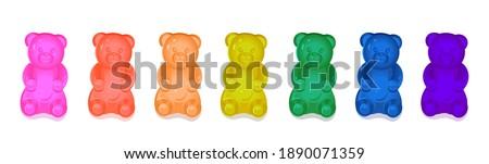Colorful gummy bears for kids. Vector cartoon illustration Stock foto ©