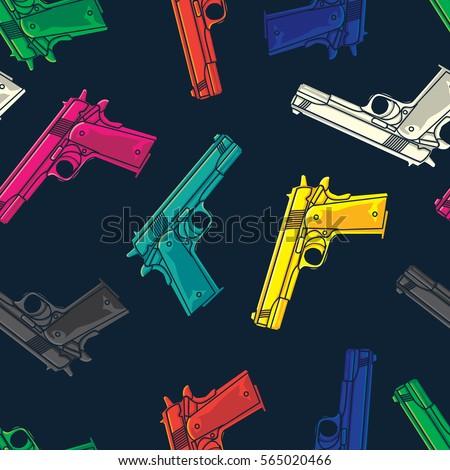 colorful guns pistols seamless