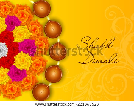 Colorful half rangoli of flowers with five illuminated oil lit lamps and stylish text of Shubh Diwali on shiny yellow background