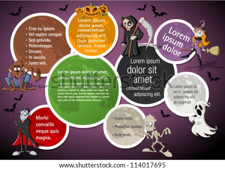 Colorful halloween template for advertising brochure with funny cartoon classic monster characters