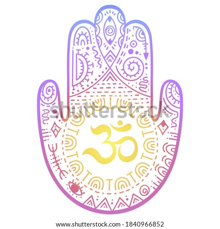 """Colorful Hamsa hand drawn symbol with OM. Decorative pattern in oriental style for interior decoration and henna drawings. The ancient sign of """"Hand of Fatima"""". Rainbow design on white background."""