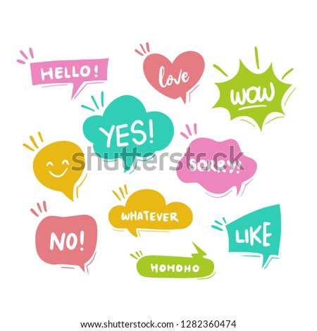 Colorful hand draw balloon speech bubbles set with short messages vector illustration - Vector #1282360474