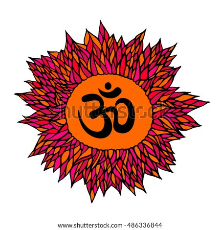 colorful hand draw of om symbol