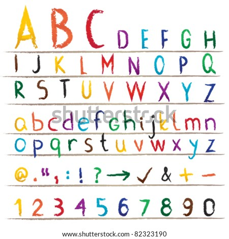 Colorful hand drawn alphabet, numbers and symbols Colorful alphabet with capital and small letters, numbers and signs.