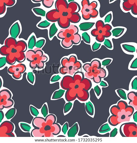 Colorful Hand Drawn Artistic Naive Daisy Flowers on Grey Background Vector Seamless Pattern. Blob Blooms, Paint Floral Print. Expressive Outlines, Organic Large Scale Simplistic Retro Fashion Design Photo stock ©