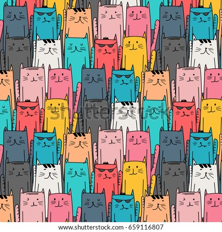 colorful hand drawn cats vector