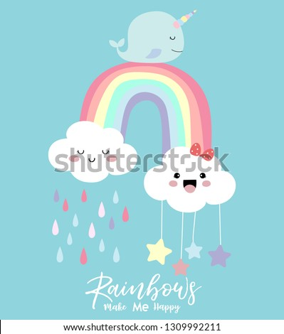 Colorful hand drawn cute card with rainbow,narwhale,cloud and rain.Rainbow make me happy