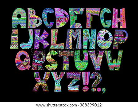 Colorful Hand Drawn Ethnic Tribal Letters Alphabet In Boho Style