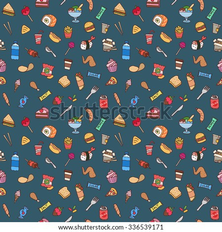 colorful hand drawn fast food