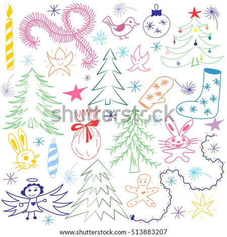 Colorful Hand Drawn Funny Doodle Christmas Symbols Set. Children Drawings of  Fir Trees, Gift, Candle, Toys, Angel Stars and Snowflakes. Perfect for festive design. Vector illustration.