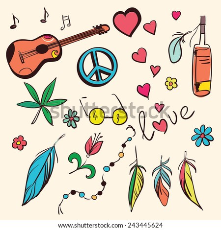 colorful hand drawn hippie set