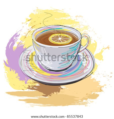 colorful hand drawn illustration of cup of fragrant black tea with lemon, created as very artistic painterly style for your design, isolated on white