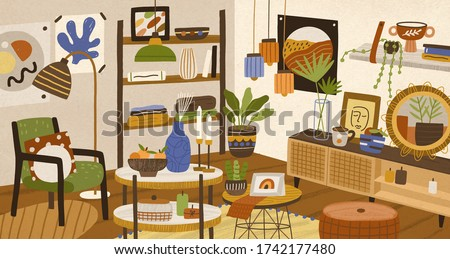 Colorful hand drawn modern interior vector illustration. Cosiness furnishing living room decorated by hygge design elements. Cozy apartment with trendy homey decorations