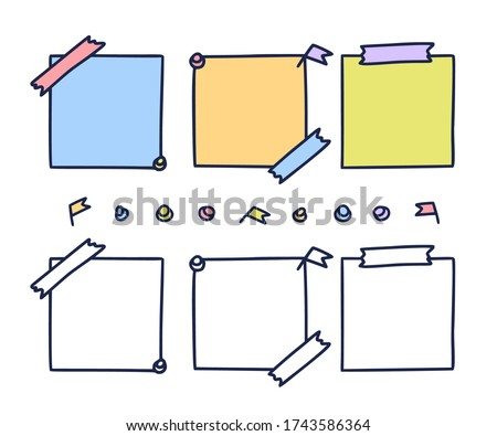 Colorful hand drawn notepaper. paper sheet set in doodle style isolated on white background, pieces of pastel note book pages, memo pad stickers vector illustration Stock photo ©