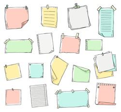 Colorful hand drawn paper sheet set in sketch line doodle style isolated on white background, pieces of pastel note book pages, memo pad stickers - vector illustration