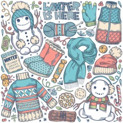 Colorful hand drawn set of winter elements - winter boots, snowman, mittens, christmas bells, sweater and others. Cozy symbols for cold season. Creative vector illustration with isolated objects