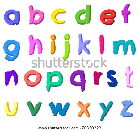 Colorful hand drawn small vector letters