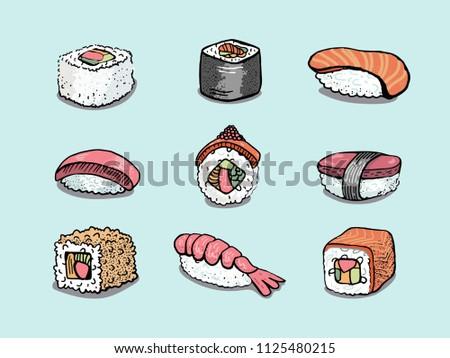 Colorful hand drawn sushi varieties vector illustration