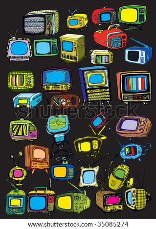 colorful hand drawn vector TVs on black