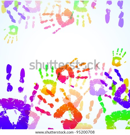 Colorful Hand Prints Background - Vector illustration - stock vector